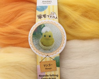 "4 Colors of Needle Felting Wool - ""Mango""- 3 shades of Yellow & White"
