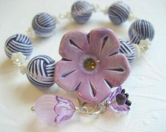 Bracelet fleur en céramique, style nautique, stripe perle lucite