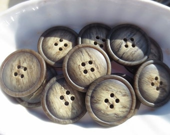 """1 1/8"""" Big Brown Buttons Plastic Tonal 4 Hole Set of 24"""