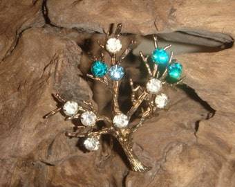 Vintage Gold STARLING Tree Brooch with rhinestones
