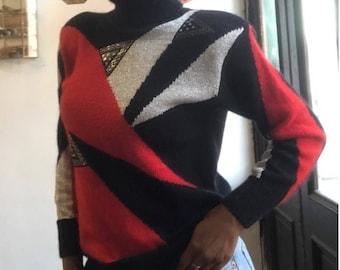 Vintage 1970s 1980s Graphic Colorblock Metallic Leather Angora Turtleneck Sweater Small