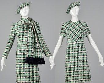 Medium 1960s I. Magnin Set Tweed Shift Dress Matching Jacket Short Sleeve Dress Cropped Jacket Fringe Scarf Beret 60s Vintage