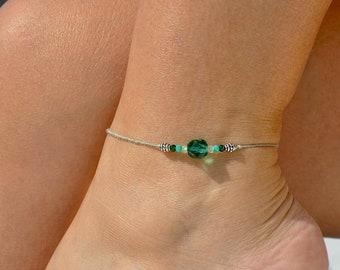 Olive Green Anklet | Dainty Anklet | Foot Bracelet | Ankle Bracelet | Olive Foot Jewelry | Beach Anklet | Elegant Anklet | Minimalist Anklet