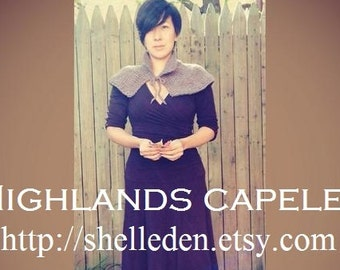 PDF Knitting Pattern for OSFA Highlands Capelet Instant Download For larger size add rows