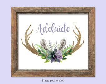 Personalized baby girl nursery print boho nursery art custom name print nursery wall art deer antler nursery art lavender violet nursery art