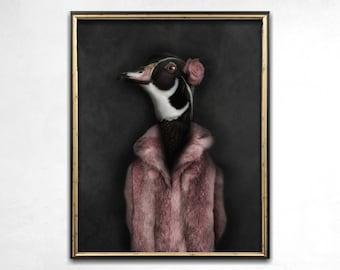 Quirky Art, Anthropomorphic Art, Photo Print, Weird Art, Wall Art, Bird Print, Funny Art, Home Decor, Animal Art Print, Animal Lovers Gift