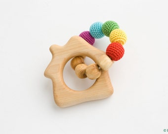 Rainbow House Teething Wood Ring - Wood Rattle Toy, New Baby Gift, Baby Shower Gift, Newborn - TR16