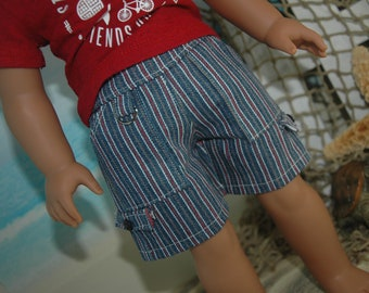 American, made, boy, girl, Bitty Baby shorts, with pockets, fits, 15 inch, 18 inch doll, doll clothes
