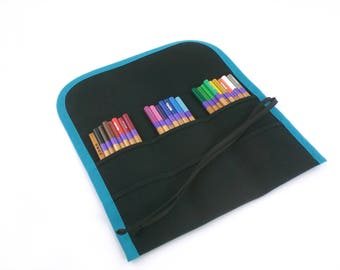 M / 24 Pencil Roll / Buy it For Life / Black with Teal | Pen Roll | Canvas Pencil Roll | Artist Roll | Fountain Pen Organization | Writing