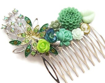 Emerald Rhinestone Hair Comb-Prom Accessory-Bridal Party-Offbeat Bride-Wedding Party-Sparkle Comb-Wedding Fascinator-Formal Hair-Victorian