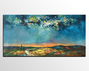 Oil Painting Canvas, Landscape Painting, Canvas Art, Starry Night Sky Painting, Abstract Art, Living Room Wall Art Decor, Canvas Painting