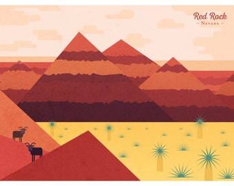 Red Rock, Nevada - Illustrated Digital Art Print