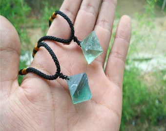 Natural octahedral green fluorite pendant gem healing crystal.