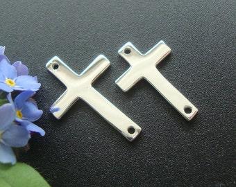 5 pcs, 16x10mm, 925 Sterling Silver Sideways Cross connector, High Polished, CC-0056