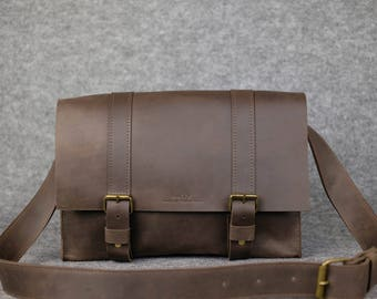 Men's city-style messenger bag , Leather messenger bag, Leather laptop bag, Leather satchel bag, Shoulder messenger bag, Shoulder bag, Gift