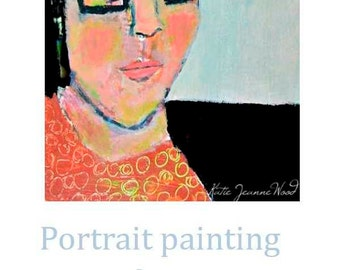Acrylic Girl Portrait Painting. Stupid Haircut. Mixed Media Collage Art. Bedroom Wall Decor. Home Apartment Wall Art.