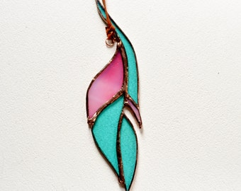 Pink And Green Glass Feather Stained Glass Suncatcher Home Decor Gift For Her