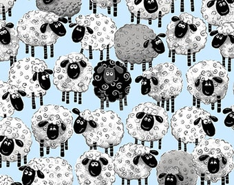 Susybee Allover Print Sheep Ewe Fabric- Lewe The Ewe- So Cute! Blue Background