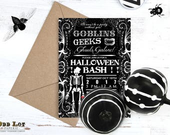 Spooky Skeleton Halloween Party Invitation Printable, Goblins and Geeks Adult Party Invite, Costume Party Halloween Bash Invites DIY Party