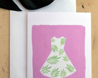 Palm Leaf Dress Blank Notecard and Greeting Cards