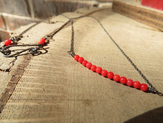 Coraline - modern Chinese coral and oxidized sterling necklace - ready to ship