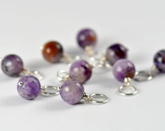 Charoite Charm, Interchangeable Charm Necklace, Cluster Charm