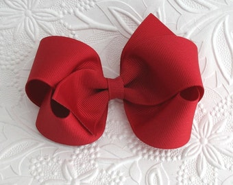 Girls Thanksgiving Cranberry Hair Bow, Toddler Boutique Hair Bow Clip