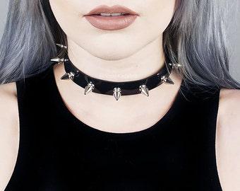 Spiked Choker Collar | Black Vinyl Choker | Silver Spikes | Spiked Collar | Goth | Metal | Grunge | Kadabra | Kadabra Cult | HEX CHOKER