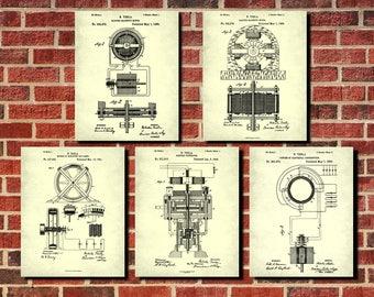 Tesla Patent Prints, Set 5 Inventor Posters, Technology Wall Art, Nikola Tesla Posters