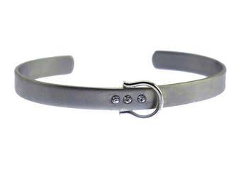 Silver Belt Cuff Bracelet, Silver Cuff Bracelet, Thin Silver Cuff Bracelet, Silver Rhinestone Cuff Bracelet