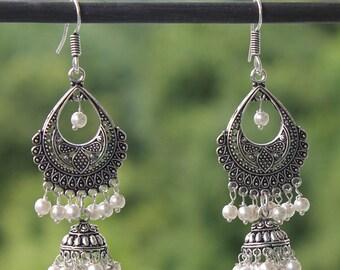Jhumkas / Silver Earrings/ Indian Earrings / Jhumka Earrings / Indian Jewelry / Vintage Earrings / Gift for Mom / Gift for Girlfriend