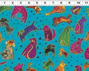Laurel Burch Fabric Dog & Doggies All Over Dog Print on Blue Y1800-33M