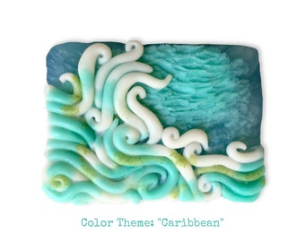 Sea Scape Soap for Nautical Themed Bathrooms || Coastal Art || Van-Gough Inspired || Hand-sculpted, Individually Poured, Limited Batch Soap