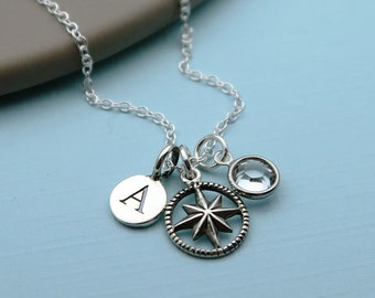 Silver Compass Necklace, Personalized Compass, Initial Birthstone, Sterling Compass Charm, Graduation Gift, Travel Gift, Compass Jewelry,