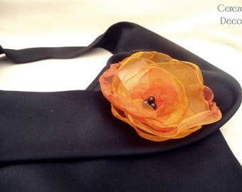 Large orange and black flower brooch textile jewelry earth fire