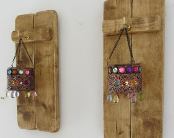 Pair of 35 cm tall Rustic Reclaimed Pallet Wood Wall Sconce's with hanging Moroccan Style Jewelled & Beaded Tea Light Lanterns