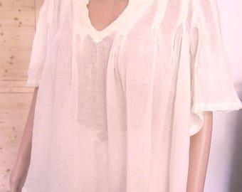 Bohemian blouse short sleeve powder