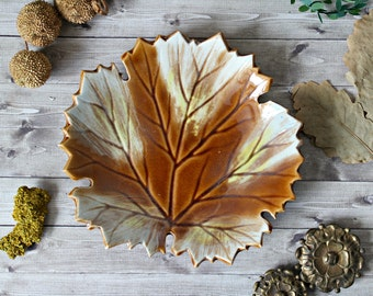 French vintage leaf dish earthenware faience 1960s retro collection fall autumn french cottage shabby rustic