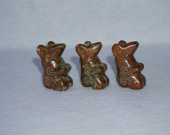 Peruvian Carved Stone Mice Set of 3
