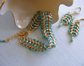 Czech Glass and Stormduo Beaded Woven Bracelet and Dangle Earrings in Sea-Foam Green and Aztec Gold