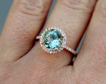 Aquamarine engagement ring rose gold 14k. Round green 2.21ct  aquamarine diamond ring by Eidelprecious