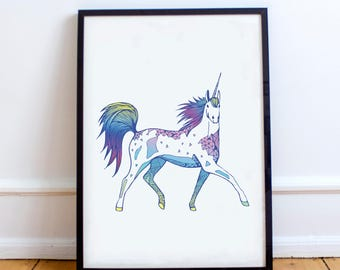 Unicorn Print | Unicorn Drawing | Home Decor