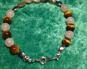Handmade Bracelet with tigers eye Rose quartz and Emerald