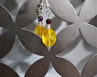 SALE! Yellow Dangle Earrings,Glass Beads, Yellow, Red, Dangle Earrings, Silver Earwire