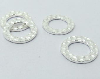 4 Pieces Hammered Ring Links 925 Sterling Silver 13mm Round