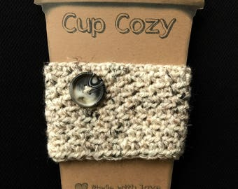 Coffee Cozy with Button | Cup Cozy | Reusable Cup Sleeve | Free Shipping