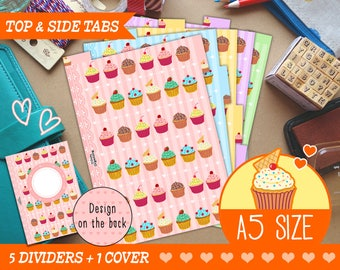 A5 Size Cute Kawaii Cupcakes DIY Dividers 5 Top & Side Tabs for Filofax Kikki.K Louis Vuitton Planner Printable PDF Instant Download