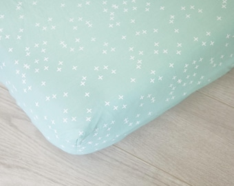 Organic Fitted Crib Sheet | Mint and White Plus Signs