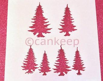 "Cookie Stencil - Evergreen Trees- Tree Silhouette stencil - 6""x6"""
