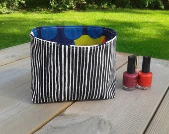 Fabric Basket Organizer made from Marimekko fabric, Storage bin container, Gift basket, Scandinavian fabric